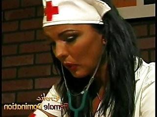 Busty nurse fucks her kinky with a giant strap