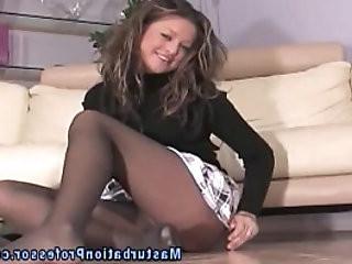 Nylon wearing babe stripping