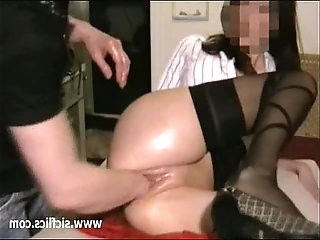 Busty young slut fisted in both her destroyed holes