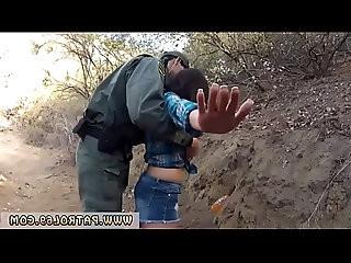 Fake black female cop and fucks whore Mexican border patrol agent has