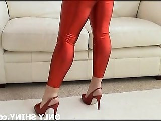 Kiera in shiny red PVC lingerie and high heels