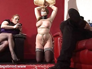 Lesbian bondage of cute gagged damsel in distress Taylor Heart in rop