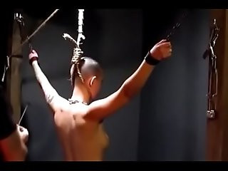 Owned slave gets her neck branded by her master