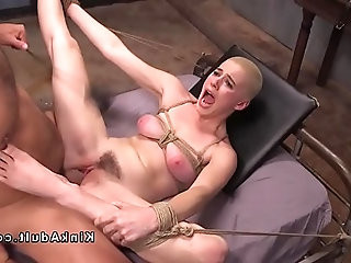 Tied up hairy slave got banged