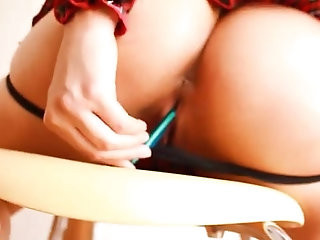 Round Ass Teen Fucking Herself With Pencils! School Hot!