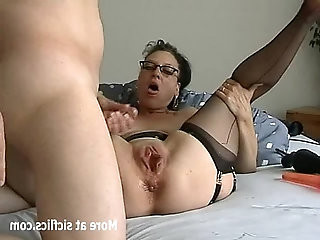 Humongous dildo fuck and fisting whore