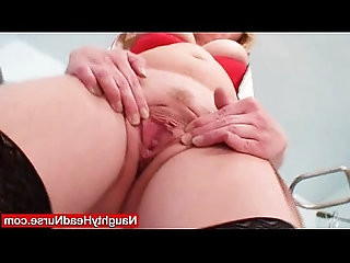Blond haired big juggs cougar gaping cooter on gynochair