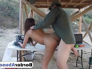 Saucy brunette gives blowjob and gets pussy rough