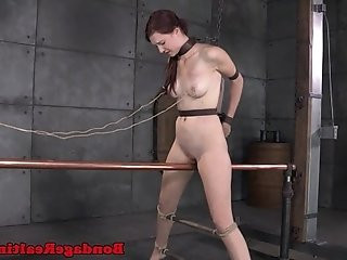Bdsm bondage Ashley Lane grinds on bar