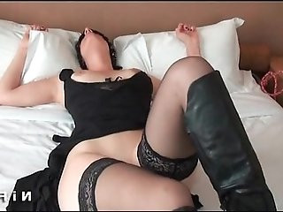 Amateur french milf in lingerie with nice boobs gets banged by John doe