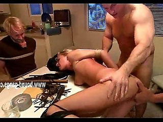Blonde wife thrown on table and fucked