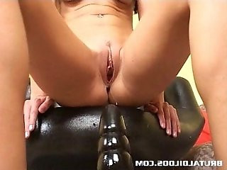 Tight milf India Summer riding a big brutal dildo