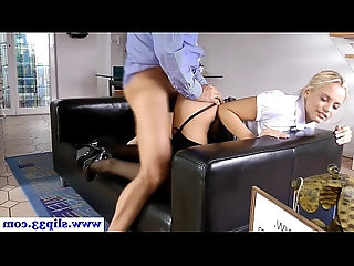 Teasing babe doggystyle banged by geriatric