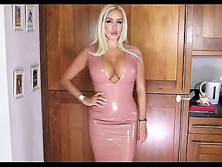 A perfect MILF plays with latex dress shows her body
